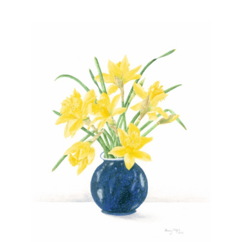Daffodils in a blue vase by Penny Clifford